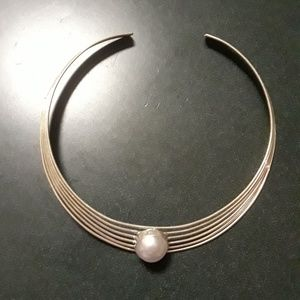 Silver and pearl choker